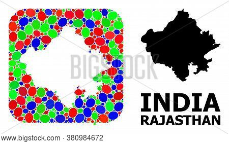 Vector Mosaic And Solid Map Of Rajasthan State. Bright Geographic Map Designed As Stencil From Round