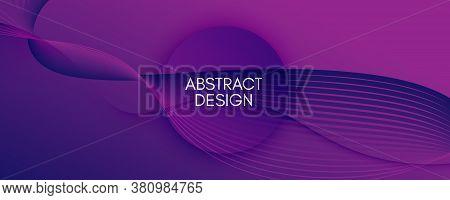 Fluid Background. 3d Flow Line Wallpaper. Color Geometric Brochure. Curve Business Template. Violet