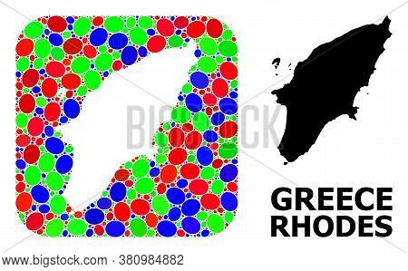 Vector Mosaic And Solid Map Of Rhodes Island. Bright Geographic Map Designed As Stencil From Rounded