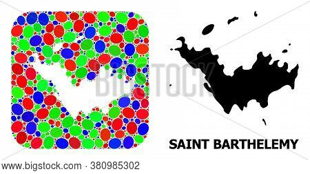 Vector Mosaic And Solid Map Of Saint Barthelemy. Bright Geographic Map Created As Hole From Rounded