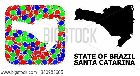 Vector Mosaic And Solid Map Of Santa Catarina State. Bright Geographic Map Created As Subtraction Fr