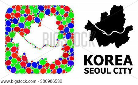 Vector Mosaic And Solid Map Of Seoul Municipality. Bright Geographic Map Constructed As Hole From Ro