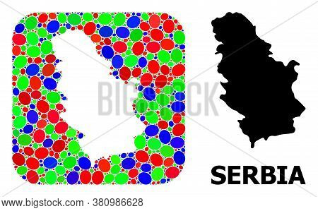 Vector Mosaic And Solid Map Of Serbia. Bright Geographic Map Created As Stencil From Rounded Square