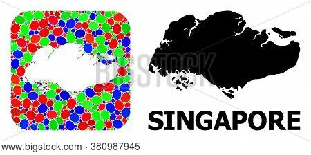 Vector Mosaic And Solid Map Of Singapore. Bright Geographic Map Created As Subtraction From Rounded
