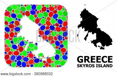Vector Mosaic And Solid Map Of Skyros Island. Bright Geographic Map Created As Stencil From Rounded