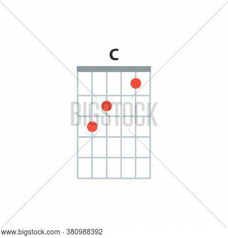 C Guitar Chord Icon. Basic Guitar Chords Vector Isolated On White. Guitar Lesson Illustration.