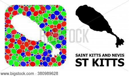 Vector Mosaic And Solid Map Of St Kitts Island. Bright Geographic Map Constructed As Stencil From Ro