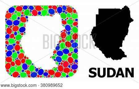 Vector Mosaic And Solid Map Of Sudan. Bright Geographic Map Designed As Hole From Rounded Square Wit