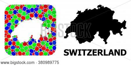 Vector Mosaic And Solid Map Of Switzerland. Bright Geographic Map Created As Hole From Rounded Squar