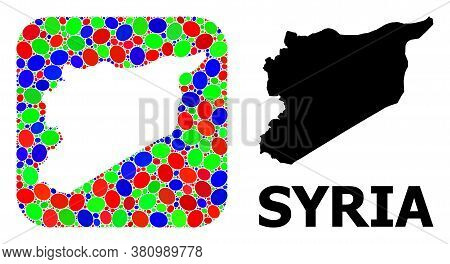Vector Mosaic And Solid Map Of Syria. Bright Geographic Map Created As Stencil From Rounded Square W