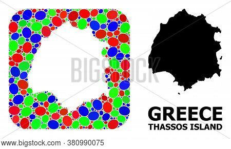 Vector Mosaic And Solid Map Of Thassos Island. Bright Geographic Map Created As Subtraction From Rou