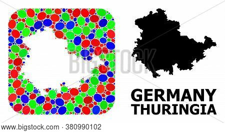 Vector Mosaic And Solid Map Of Thuringia State. Bright Geographic Map Created As Stencil From Rounde