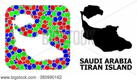 Vector Mosaic And Solid Map Of Tiran Island. Bright Geographic Map Created As Hole From Rounded Squa