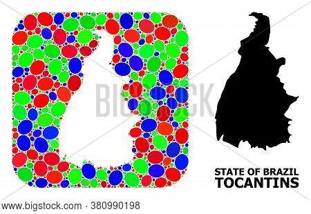 Vector Mosaic And Solid Map Of Tocantins State. Bright Geographic Map Created As Subtraction From Ro