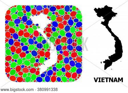 Vector Mosaic And Solid Map Of Vietnam. Bright Geographic Map Designed As Hole From Rounded Square W