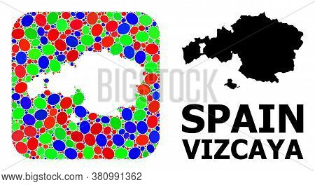 Vector Mosaic And Solid Map Of Vizcaya Province. Bright Geographic Map Designed As Carved Shape From