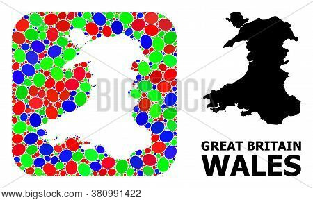 Vector Mosaic And Solid Map Of Wales. Bright Geographic Map Designed As Hole From Rounded Square Wit
