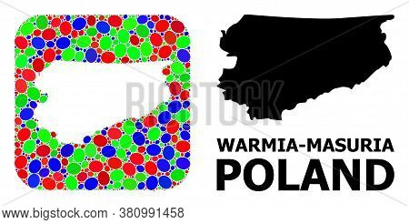 Vector Mosaic And Solid Map Of Warmia-masuria Province. Bright Geographic Map Created As Subtraction