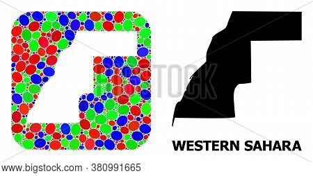 Vector Mosaic And Solid Map Of Western Sahara. Bright Geographic Map Designed As Subtraction From Ro