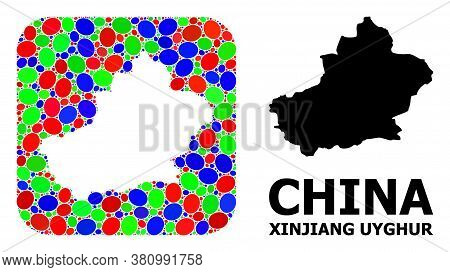 Vector Mosaic And Solid Map Of Xinjiang Uyghur Region. Bright Geographic Map Designed As Hole From R