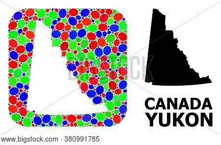 Vector Mosaic And Solid Map Of Yukon Province. Bright Geographic Map Designed As Carved Shape From R