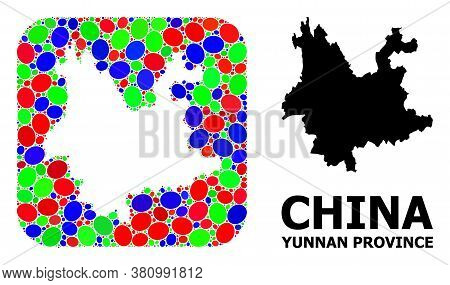 Vector Mosaic And Solid Map Of Yunnan Province. Bright Geographic Map Designed As Hole From Rounded