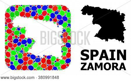 Vector Mosaic And Solid Map Of Zamora Province. Bright Geographic Map Created As Stencil From Rounde