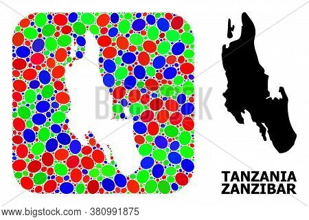 Vector Mosaic And Solid Map Of Zanzibar Island. Bright Geographic Map Designed As Subtraction From R