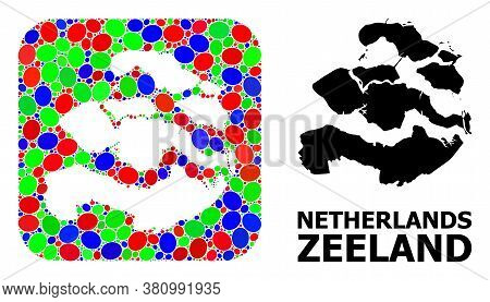 Vector Mosaic And Solid Map Of Zeeland Province. Bright Geographic Map Constructed As Subtraction Fr