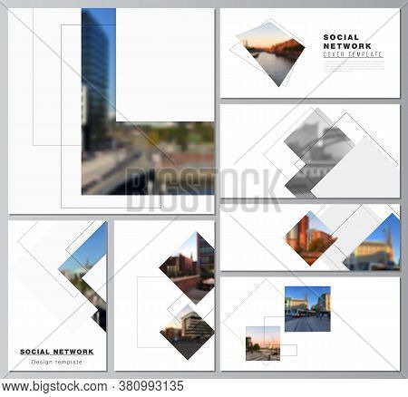 Vector Layouts Of Modern Social Network Mockups In Popular Formats With Geometric Simple Shapes, Lin