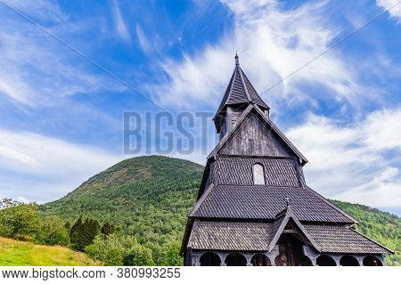 Urnes Stave Church In Ornes Along Lustrafjorden In Sogn Og Fjordane County In Norway.