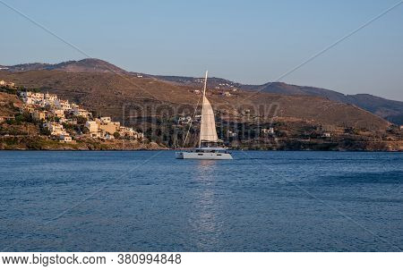 Kea, Tzia Island, Tourism Destination Greece. Summer Holidays At Greek Islands. Luxury White Sailboa