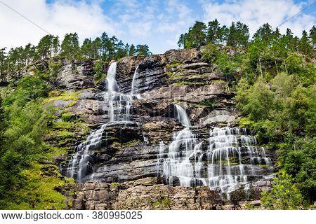 Waterfall Tvindefossen, O R Twinnefossen, Trollafossen On The Road To Flam Near Voss In Norway. The