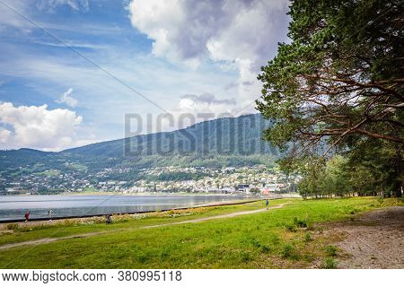 Panoramic View Of The City Voss, Hordaland In The Heart Of Fjord Norway Between The Famous Fjords So