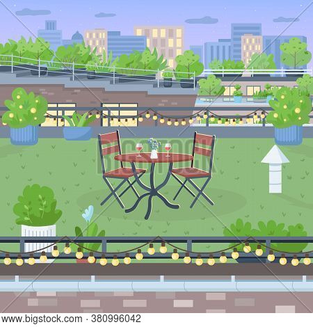 Terrace For Romantic Dinner Flat Color Vector Illustration. Furniture On Rooftop Yard. Table And Cha