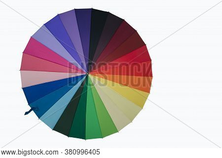 Colorful Rainbow Umbrella Multicolor On White Background With Clipping Path .