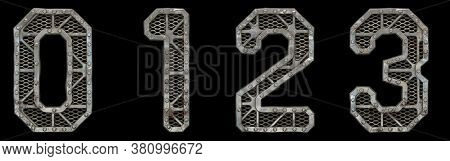 Mechanical alphabet made from rivet metal with gears on black background. Set of numbers 0, 1, 2, 3. 3D rendering