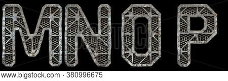 Mechanical alphabet made from rivet metal with gears on black background. Set of letters M, N, O, P. 3D rendering