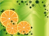 Orange slices with some flowers pattern over white green abstract background poster