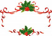 Christmas decoration - holly and ribbons border / vector illustration poster