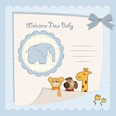 baby boy shower card with elephant toy poster