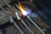 electric spark industrial creative picture, closeup of photo poster