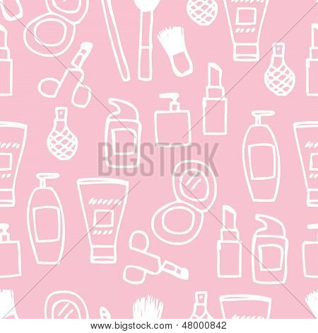 Illustration of cute hand drawn cosmetics icon seamless pattern poster