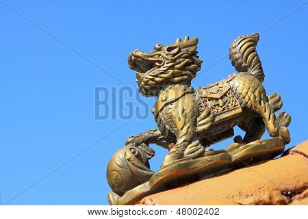 Bronze Kylin Sculpture In A Temple