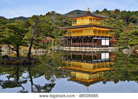 Temple of the Golden Pavilion on Kyoto, Japan.