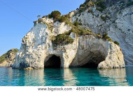 Sea Caves On Marathonisi island