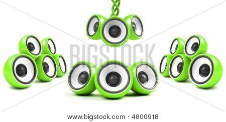 Green Stylish High-power Futuristic Audio System
