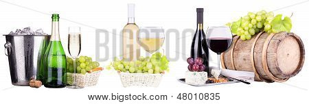 champagne, red and white wine