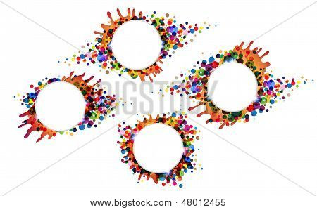 Colourful blots and spots. Four bright festive backgrounds poster