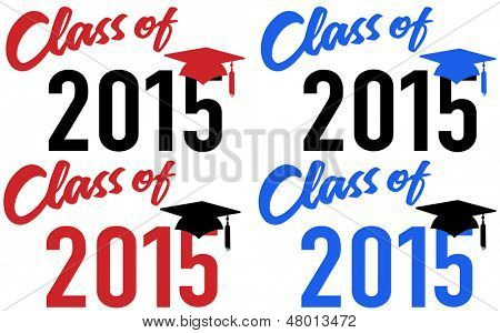 Class of 2015 graduation celebration announcement caps in red and blue school colors